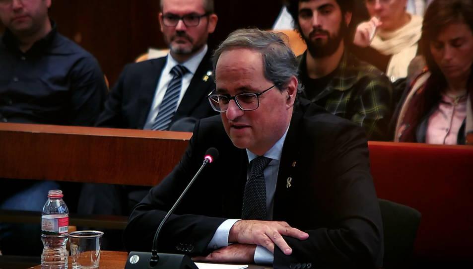 Imatge del president de la Generalitat, Quim Torra, responent a les preguntes del seu advocat