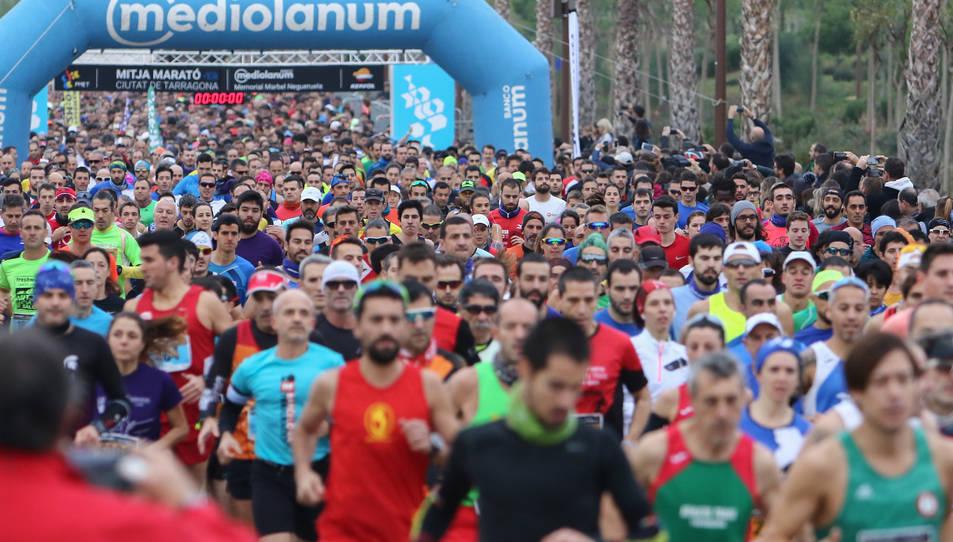 La sortida des de l'Anella Mediterrània de la Mitja Marató disputada l'any passat.