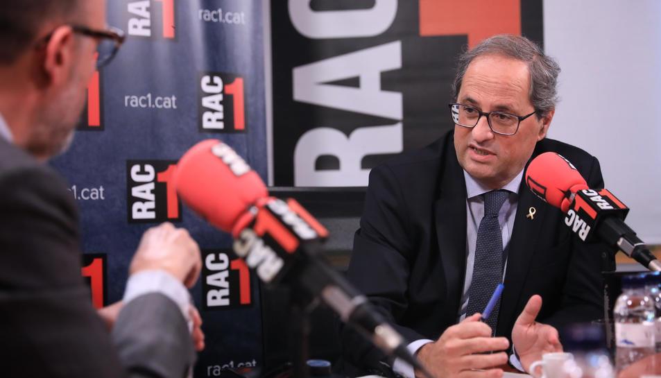 El president de la Generalitat, Quim Torra, durant l'entrevista a Rac 1.