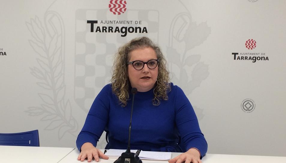 Sandra Ramos durant la roda de premsa d'ahir a l'Ajuntament.