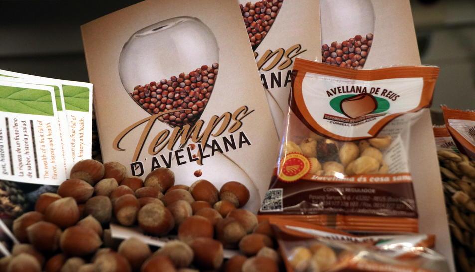 Un grapat d'avellanes i d'un fullet promocional de les jornades 'Temps d'Avellana', durant l'acte de presentació a Reus.