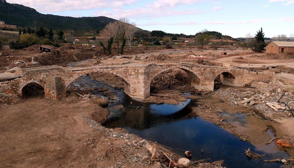 Pla general del Pont Vell de Montblanc destruït pels aiguats del passat 22 d'octubre a la Conca de Barberà.