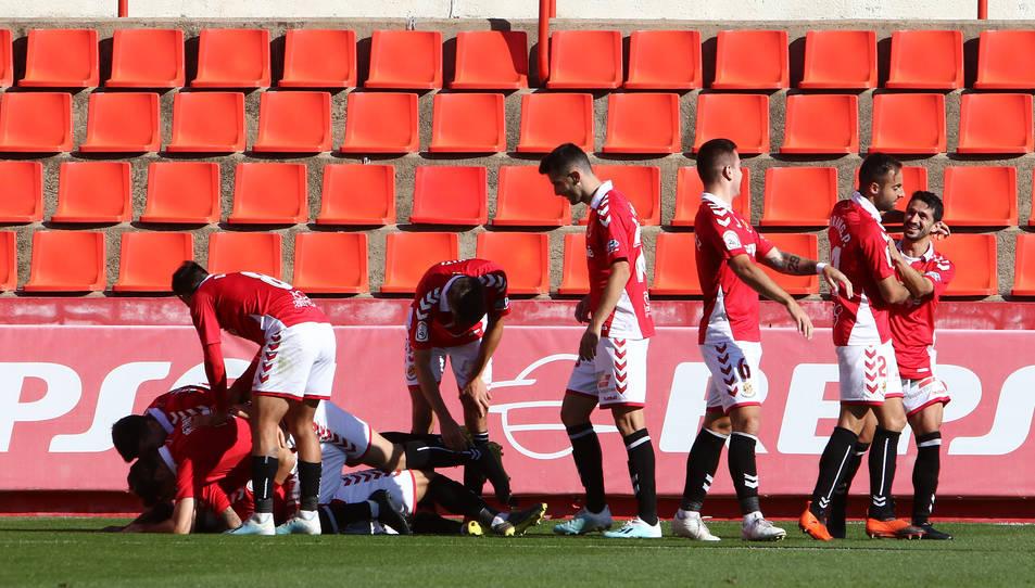 Els jugadors del Nàstic celebrant un dels gols anotats el cap de setmana passat.
