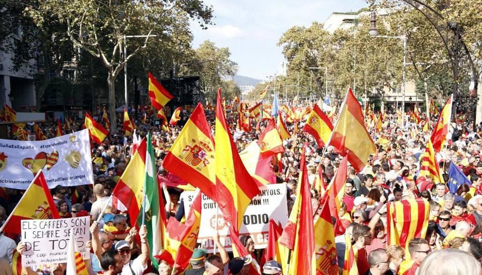 Imatge d'una concentració de Societat Civil Catalana a Barcelona