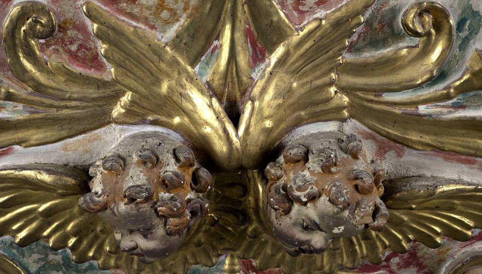 Imatge de l'estat del retaule Santa Anna de la Catedral de Tortosa abans de la restauració