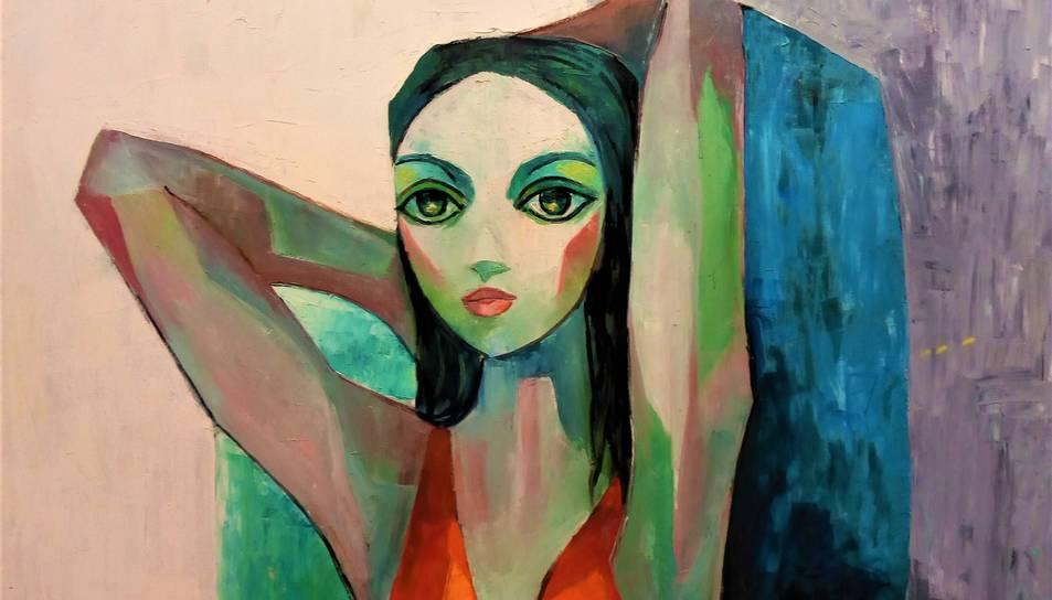 'Noia amb vestit vermell'. Un dels tres olis sobre tela que s'exposen al Museu de Reus.