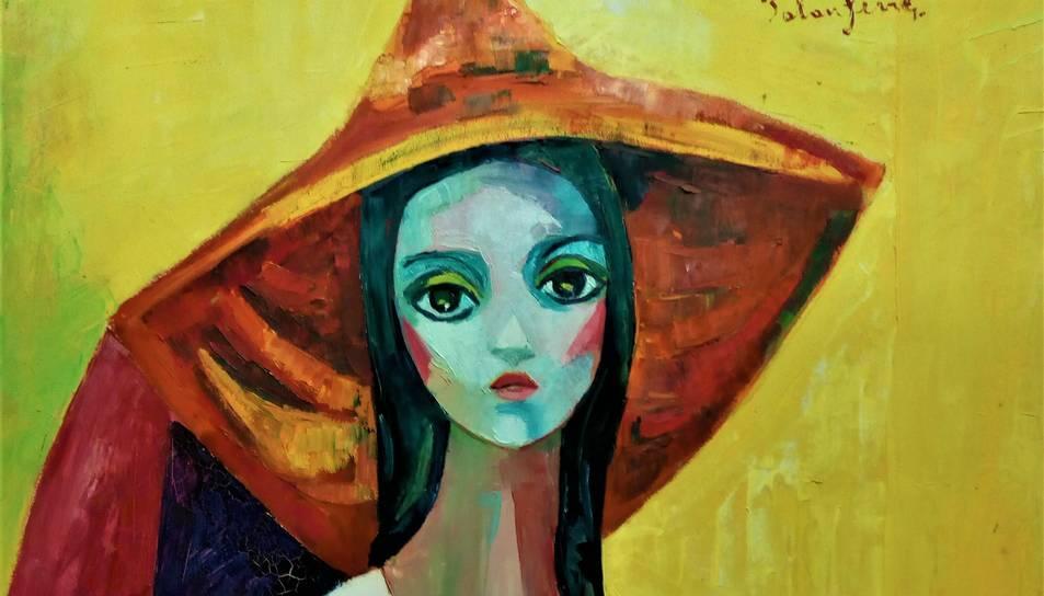 Els altres dos olis exposats són 'Noia amb barret de palla' (a la foto), i 'Noia amb síndria' .