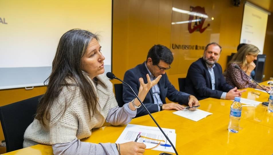 Instant de l'acte de presentació d'URV Plural ahir a la tarda al campus Catalunya.