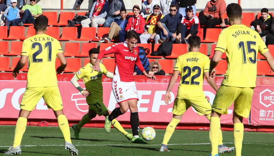 Valentín en una de les seves incursions a l'àrea rival durant el partit del passat diumenge contra el Villarreal B.