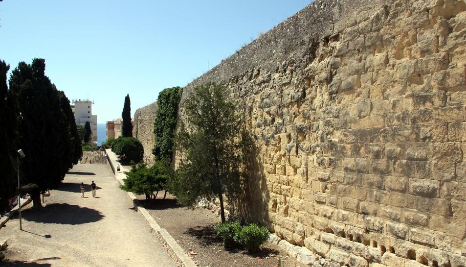 Pla general d'un fragment de la Muralla de Tarragona a les proximitats del passeig de Sant Antoni.