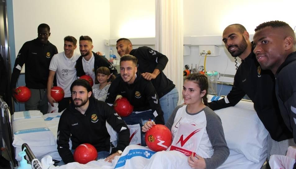 Imatge de la visita dels jugadors del Nàstic durant el Nadal del 2018