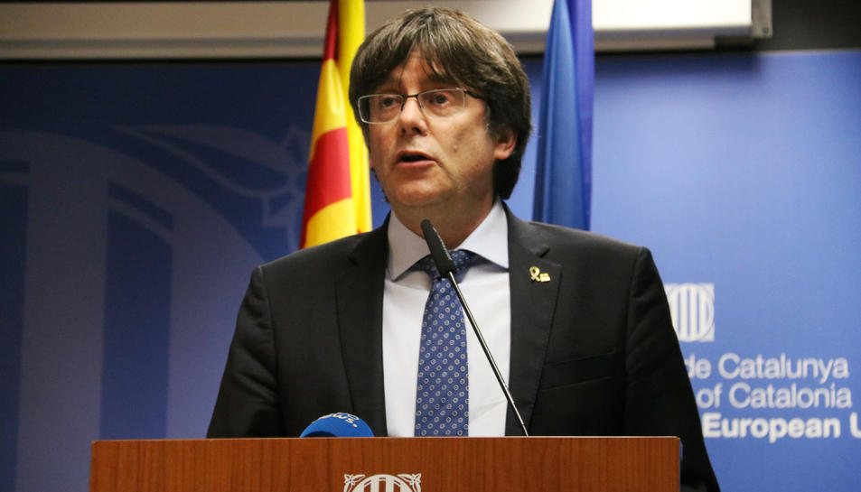 L'expresident Carles Puigdemont a la seu de la delegació del govern a Brussel·les.