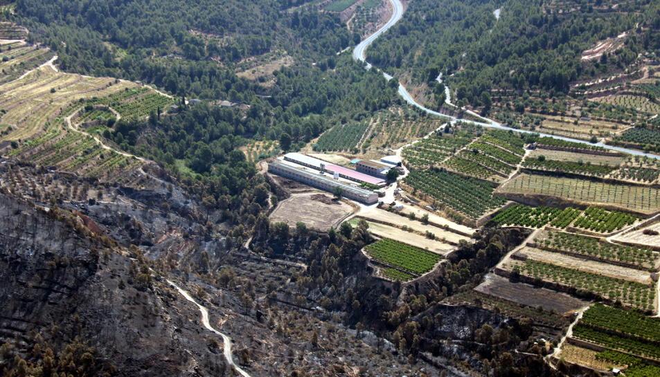 Pla aeri de la granja del municipi de la Torre de l'Espanyol on s'hauria originat l'incendi per l'autocombustió de gallinassa.