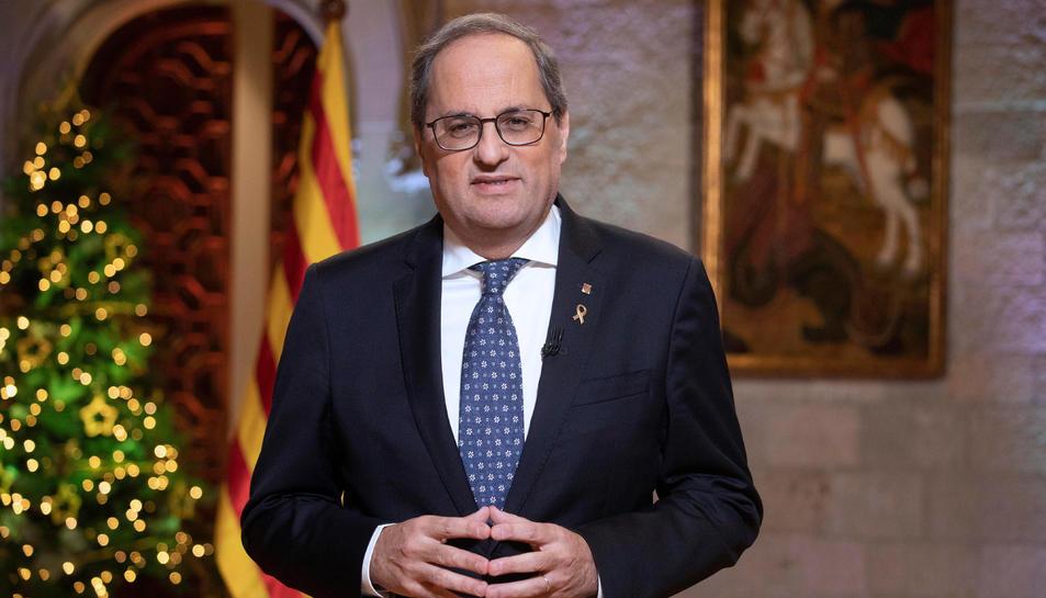 El president de la Generalitat, Quim Torra, pronuncia el discurs institucional amb motiu de Cap d'Any.