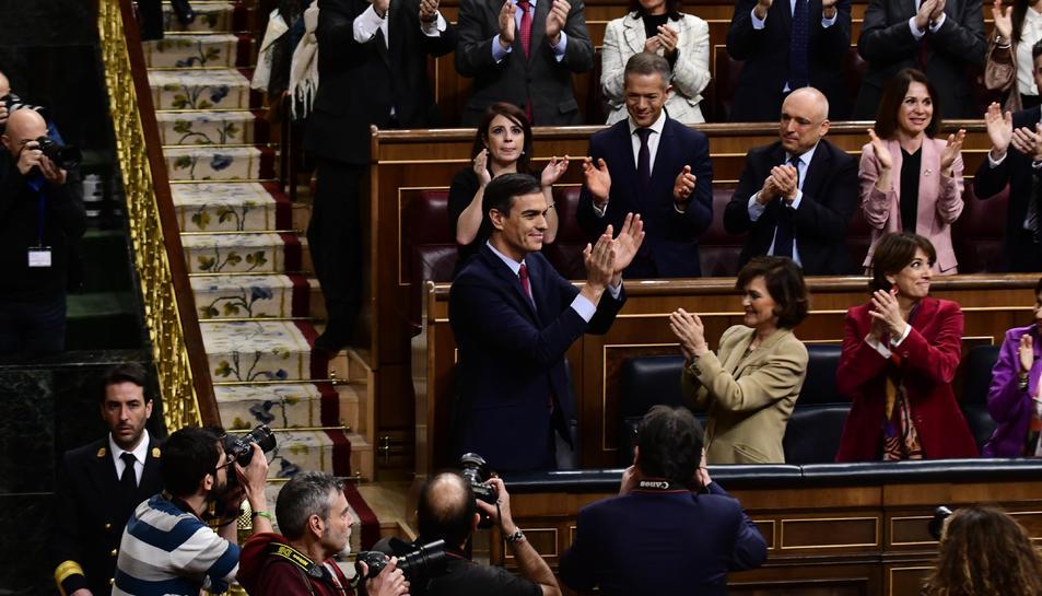 El president del govern espanyol, Pedro Sánchez, després de ser investit president per 167 vots a favor, 165 en contra i 18 abstencions.