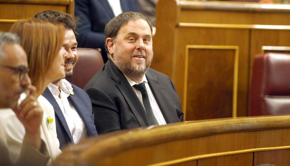 El president d'ERC, Oriol Junqueras, assegut a l'escó del Congrés dels Diputats durant la sessió constitutiva de la cambra. Imatge del 21 de maig del 2019.