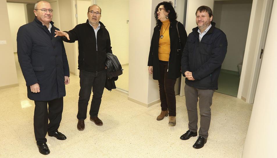 Pellicer, Rius i Subirats amb l'arquitecte de l'obra.