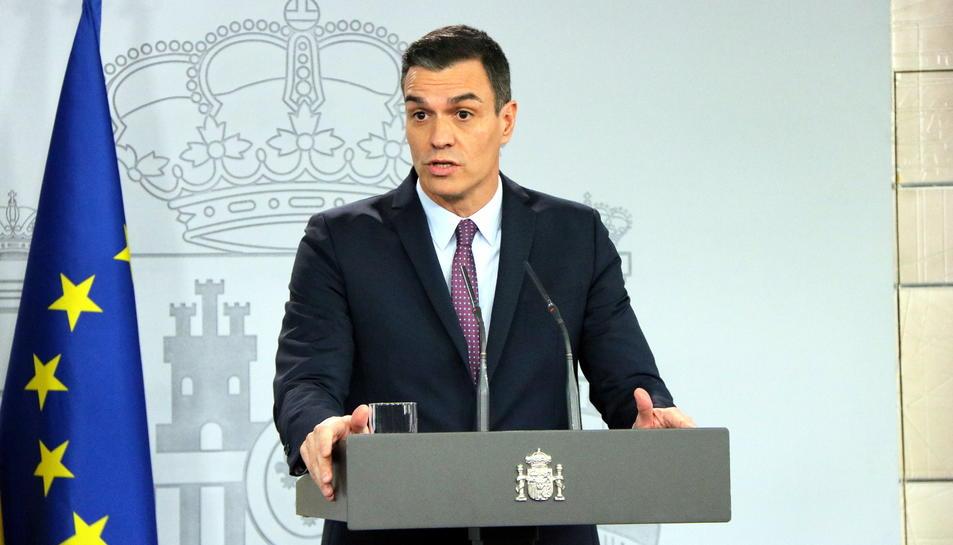El president del govern espanyol, Pedro Sánchez, durant la roda de premsa posterior al consell de ministres.
