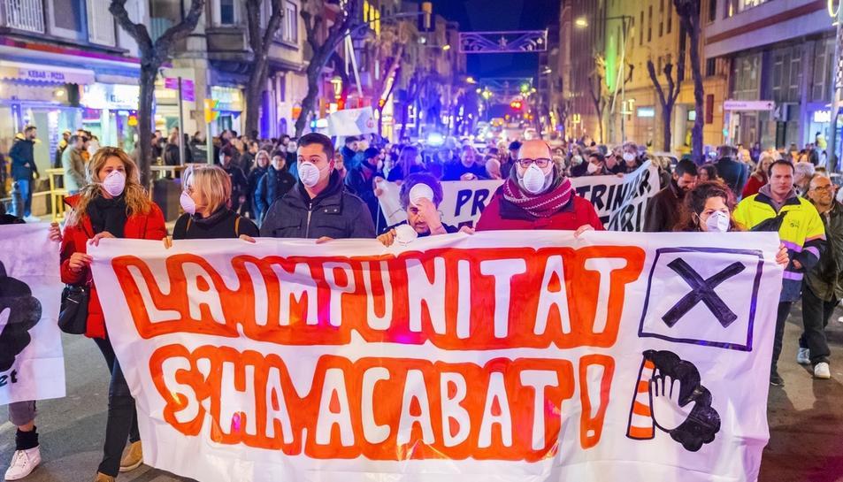La manifestació a la plaça de la Font del mes de gener