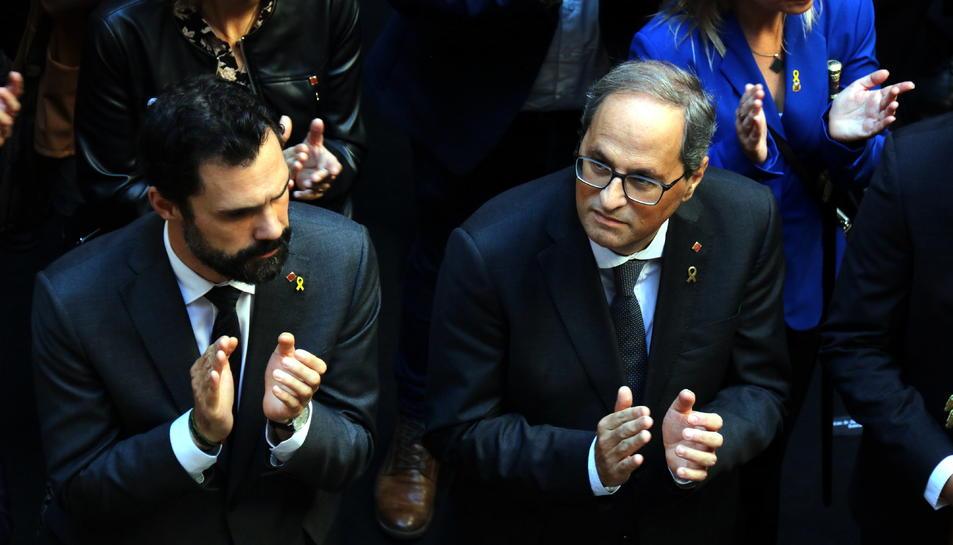 El president de la Generalitat, Quim Torra, i el president del Parlament, Roger Torrent.