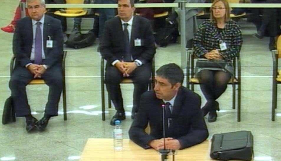 El major Josep Lluís Trapero durant la seva declaració al judici de l'Audiència Nacional aquest 20 de gener del 2020.