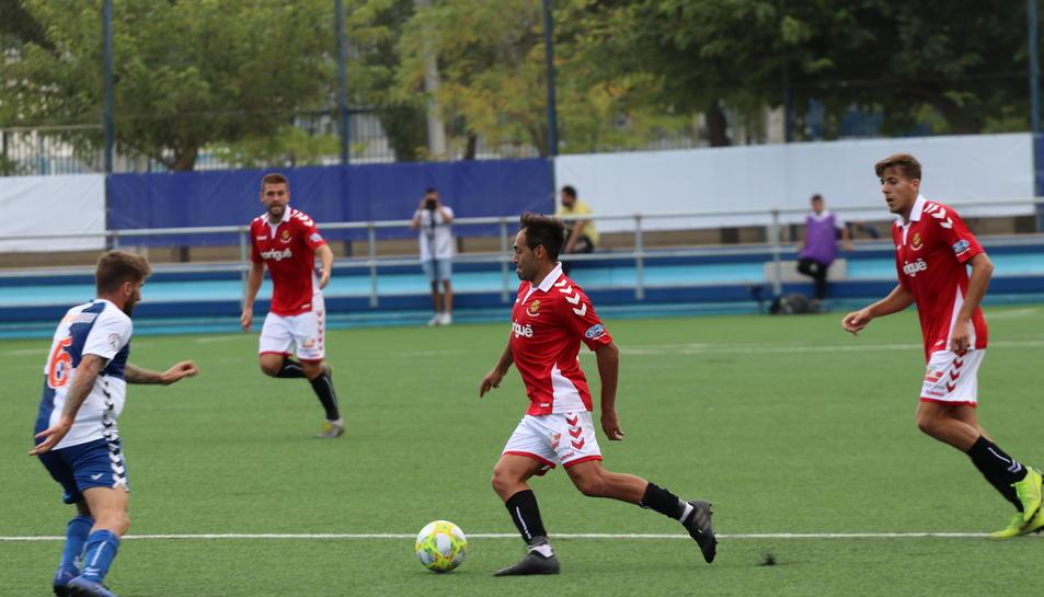 Petcoff i Viti en el partit disputat contra l'Ebro en la primera volta que va acabar amb victòria grana (0-2).