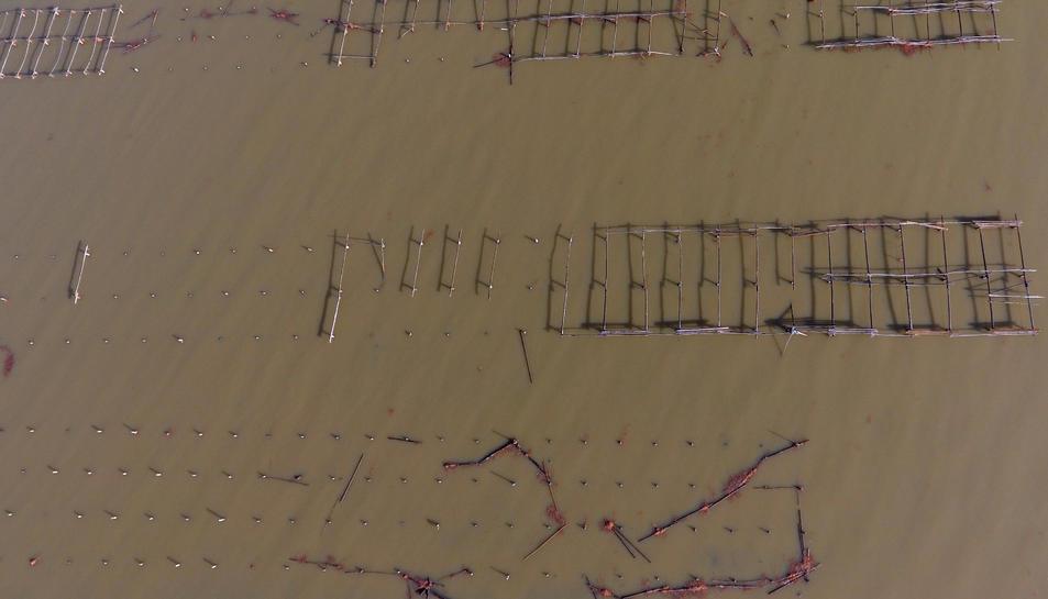 Pla zenital de les muscleres de la badia del Fangar destrossades.