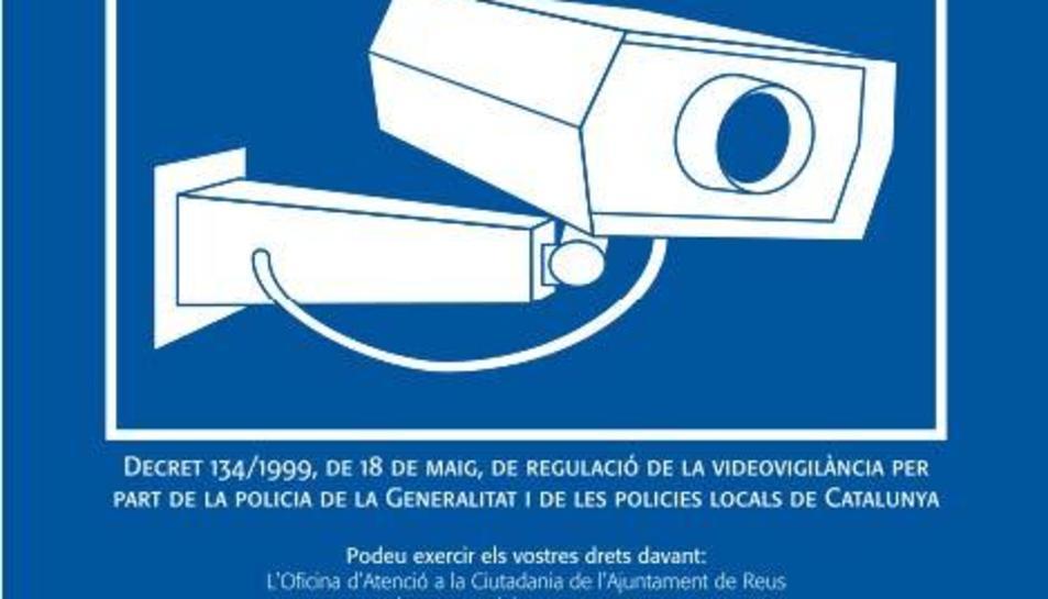 Imatge del cartell que indicarà la zona videovigilada.