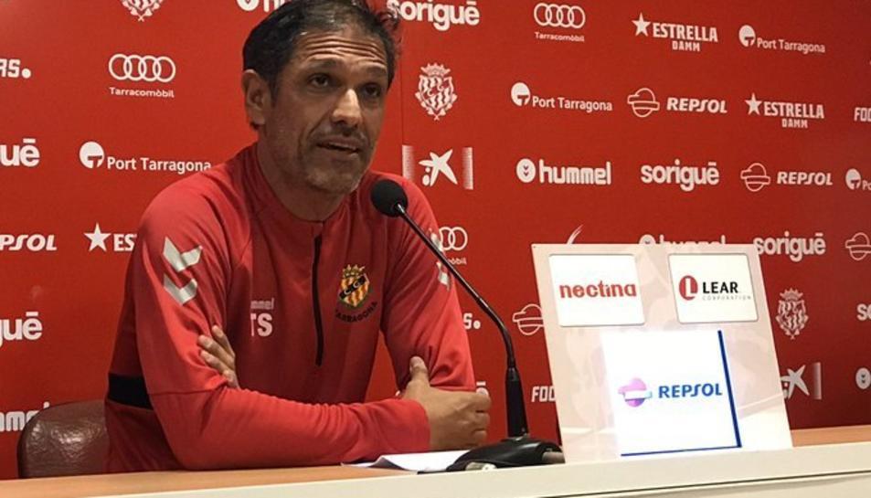 Toni Seligrat en la compareixença prèvia a l'Andorra- Nàstic de diumenge.