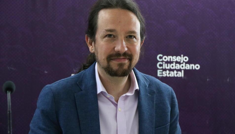 El líder de Podem i vicepresident del govern espanyol, Pablo Iglesias, al Consell Ciutadà Estatal.