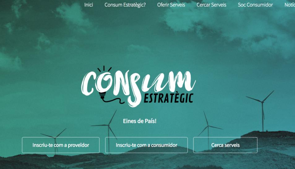 Imatge de la pàgina web del nou buscador d'empreses independentistes.