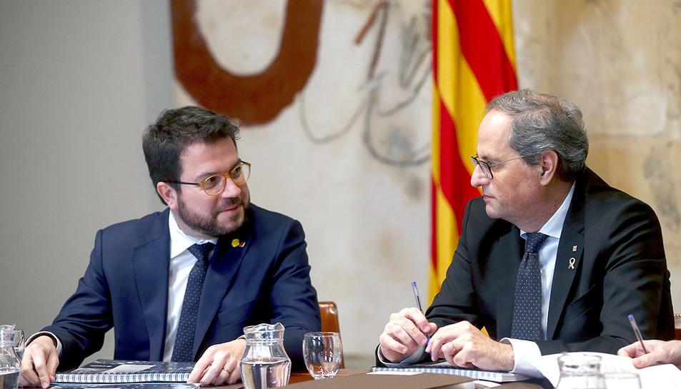 El president, Quim Torra i el vicepresident, Pere Aragonès, durant la reunió del Govern d'aquest dimecres.