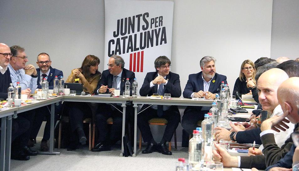 Imatge d'arxiu d'una reunio de JxCat a Brussel·les amb els presidents Puigdemont i Torra.