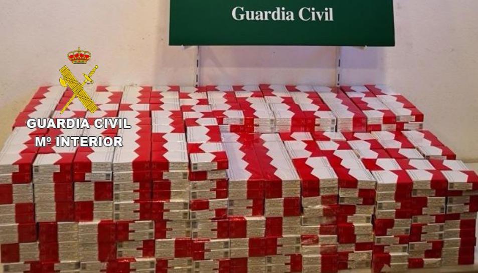 Les caixes de tabac intervingudes per la Guàrdia Civil a la Jonquera.