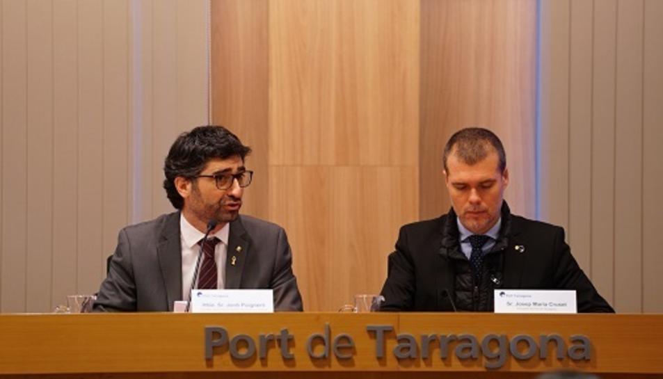 El conseller de Polítiques Digitals i Administració Pública, Jordi Puigneró, i el president del Port de Tarragona, Josep Maria Cruset, han presidit la competició.