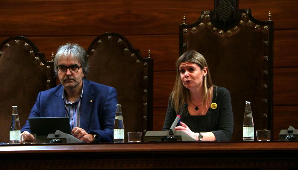Pla tancat de la presidenta de la Diputació de Tarragona, Noemí Llauradó, en la sessió plenària.