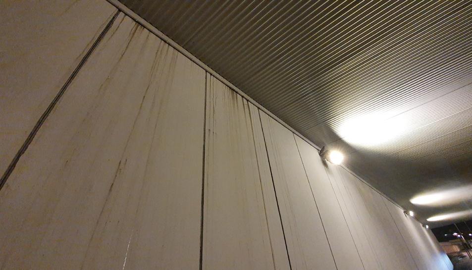 Taques al mur acabat de pintar i dos coloms a la part superior d'un dels focus.