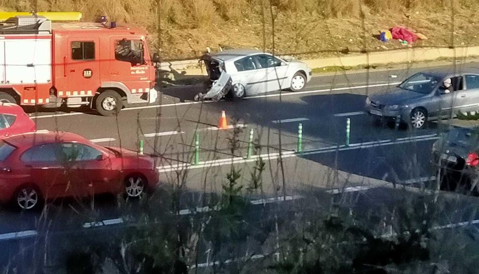 Imatge de l'accident d'aquest matí a la N-340