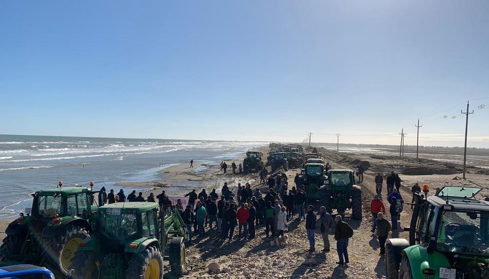 Imatge de la protesta dels agricultors al Delta de l'Ebre