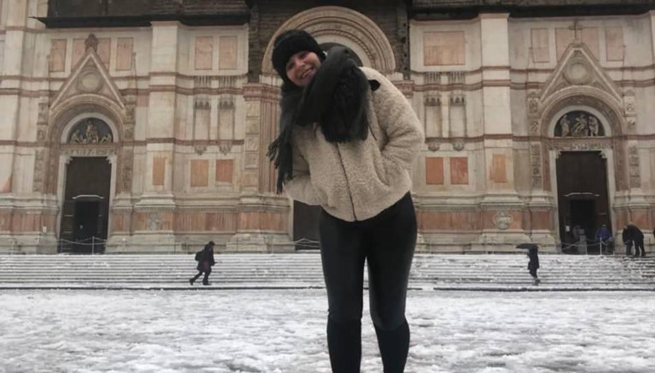Laura Diez, a la ciutat de Bolonya, aquest hivern.