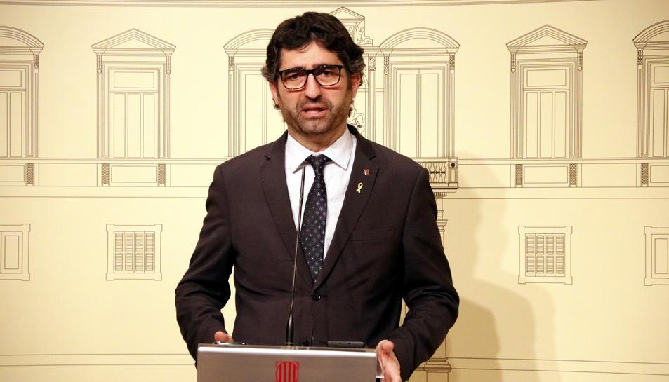 El conseller de Polítiques Digitals i Administració Pública, Jordi Puigneró, en la roda de premsa per explicar les novetats del MWC a causa del coronavirus.