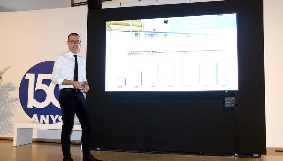 El president del port de Tarragona, Josep Maria Cruset, durant la presentació del balanç del 2019.