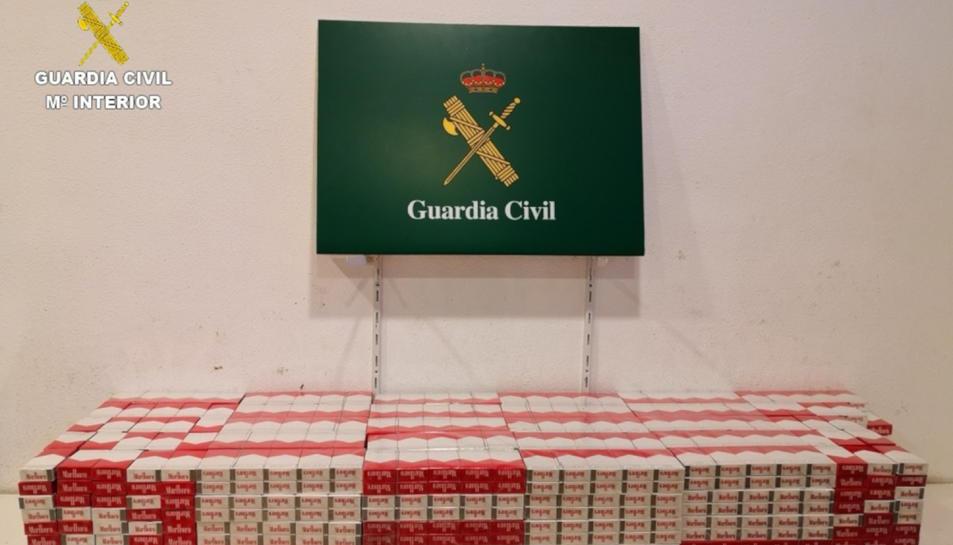 Pla general dels paquets de tabac intervinguts per la Guàrdia Civil.