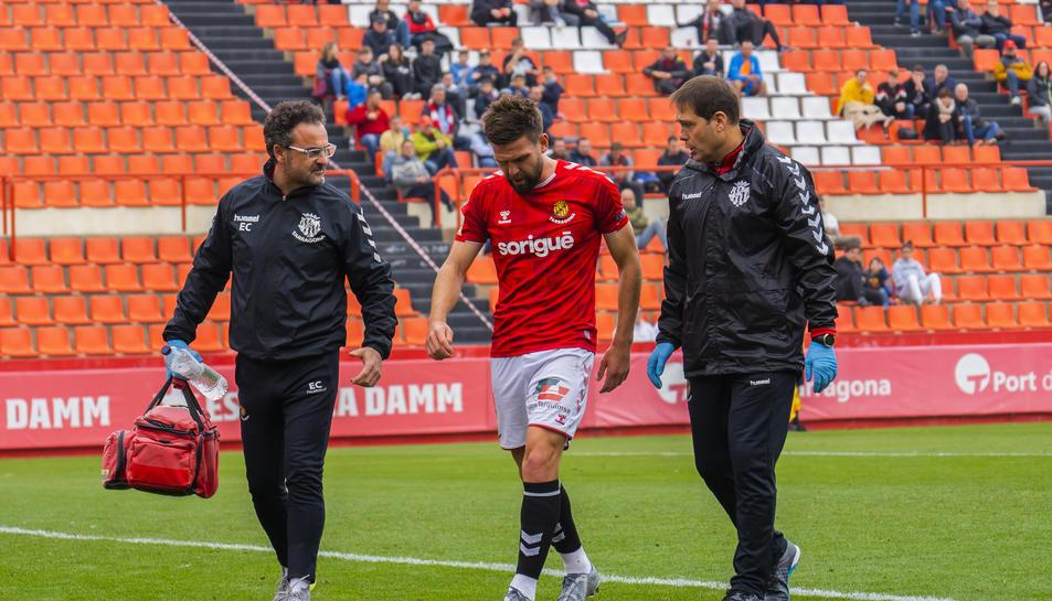 Goldar va entrar a la segona contra el Lleida per substituir a Fausto Tienza i va haver de ser canviat per la lesió de turmell.