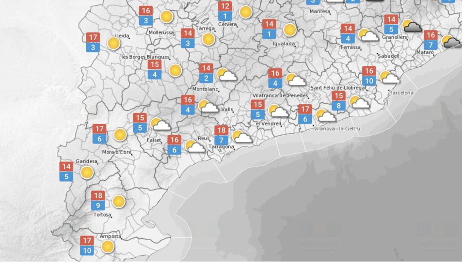 Temperatures previstes a les comarques de Tarragona.