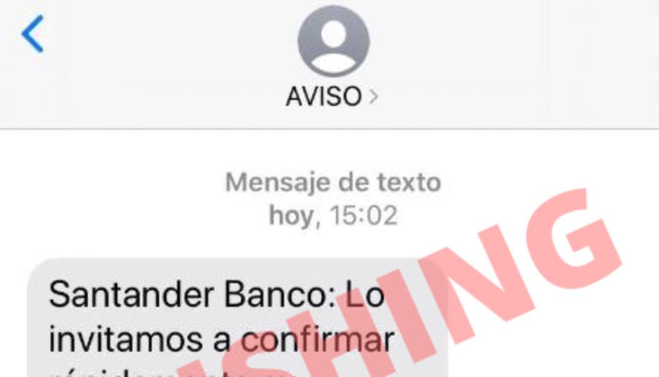 Imatge del missatge fraudulent que suplanta el Banc Santander.
