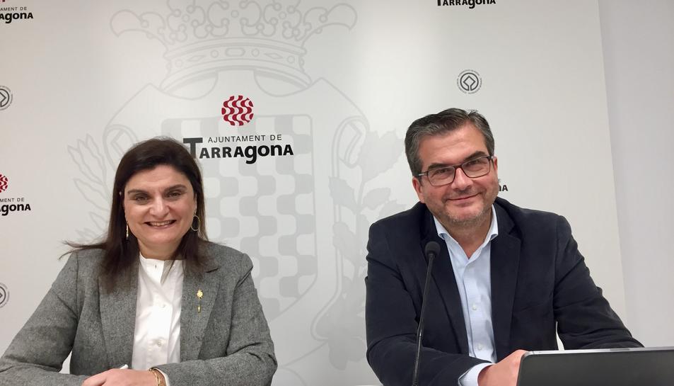 ELs portaveus del grup municipal del Partit Popular de Tarragona, aquest dimecres.