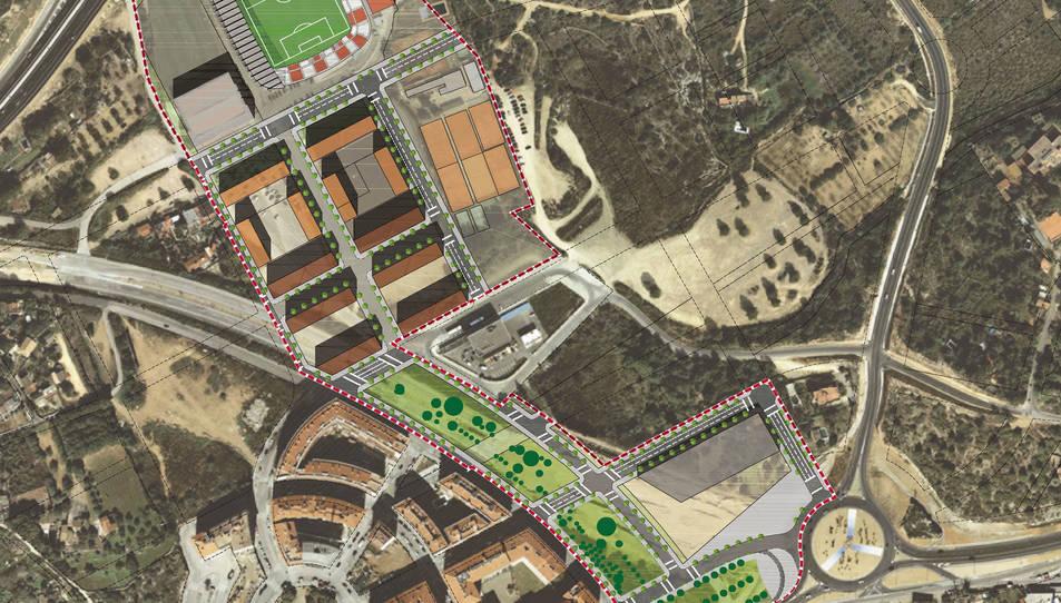 Imatge virtual de la zona afectada pel pla, a la zona del Nou Estadi i la Vall de l'Arrabassada.