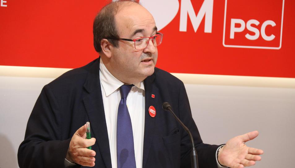 El primer secretari del PSC, Miquel Iceta, en roda de premsa a la seu del partit
