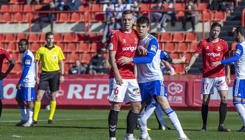 Juan Rodríguez va marcar-se un gol en pròpia porteria durant l'eliminació del Nàstic de la Copa del Rei contra el Zaragoza.